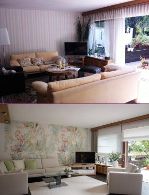 Wohnzimmer Wand, Dekorations- und Bodengestaltung vorher / nachher