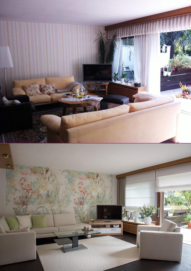 Wohnzimmer Wand, Dekorations  Und Bodengestaltung Vorher / Nachher
