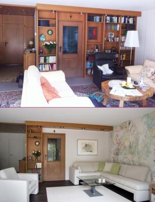 Wohnzimmer Sitzpolster vorher / Wohnzimmer Polsterlösung - Neuanfertigung nachher