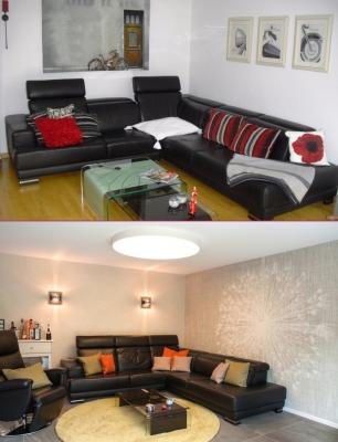 Wohnzimmer vorher / nachher
